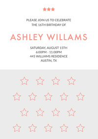 Orange Sweet Sixteen Birthday Invitation Card with Stars 誕生会の招待状