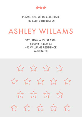 Orange Sweet Sixteen Birthday Invitation Card with Stars Birthday Invitation