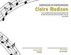 Orchestra Participation Certificate with Musical Notes Gold