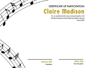 Orchestra Participation Certificate with Musical Notes Certificato di diploma