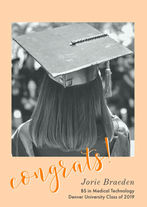 Beige and Monochrome Graduation Congratulations Card with Female Student in Mortarboard Graduation Card