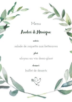 leaf framed wedding menu  Menu