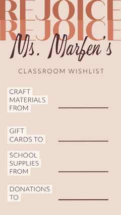 Brown and Beige School Teacher Wishlist Instagram Story Classroom