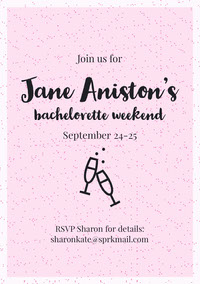 Pink, Light Toned Bachelorette Party Invitation Card Boda