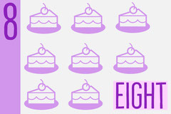 Pink Eight Cakes Number Counting Flaschard Math
