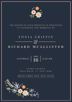 Navy and Light Color Flowers Wedding Invitation Card Rustic Wedding Invitation