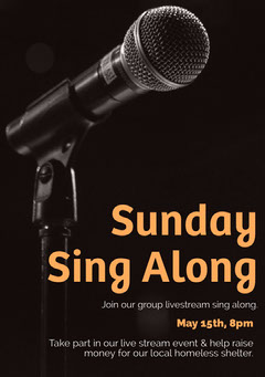 Black and Orange Microphone Sunday Karaoke Live Stream Event Flyer  Karaoke Flyer