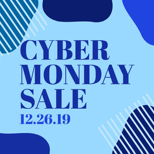 Blue Abstract Shapes Cyber Monday Sale Instagram Square Crea i tuoi annunci per il Cyber Monday