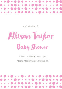 Pink and White Baby Shower Invitation Baby Shower (Girl)