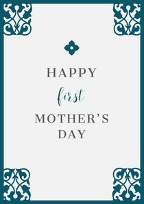Dark Blue Ornate Mothers Day Card Mother's Day Card