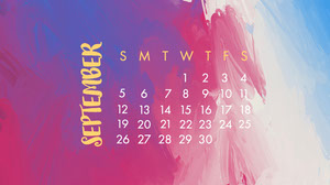Purple and Blue Watercolor September Calendar Desktop Wallpaper Monthly Calendar