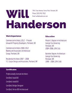 Purple Architect Resume Purple