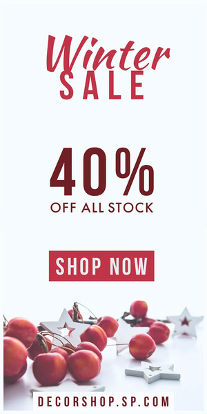 White and Red Winter Sale Red Decorations Web Ad Advertisement Flyer