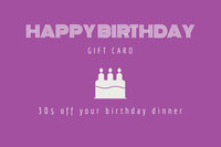 Violet and White Gift Card Carte