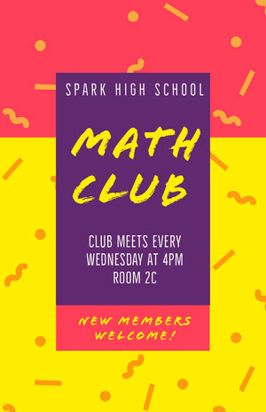 Yellow Violet and Pink Math Club Poster Pink Flyers