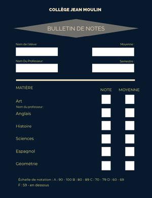 dark teal report cards  Bulletin de notes