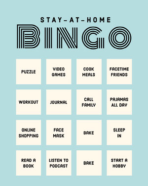 Light Blue Stay At Home Bingo Card Quarantine Bingo Card