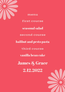 Pink and Red Wedding Menu Menú de bodas