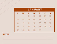 Red and Pink january Calendar with Notes Red