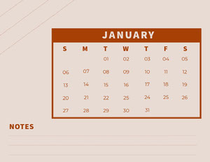 Red and Pink january Calendar with Notes 달력
