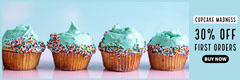 Blue With Cupcakes Sale Banner Cupcake