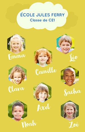 Green and Blue Kindergarten Photo Organisation Chart Poster foto de clase