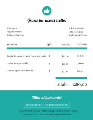 plumbing invoice  Fattura