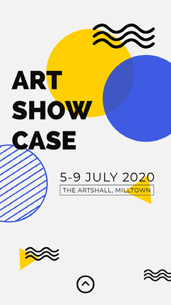 Yellow and Blue Geometric Art Exhibition Instagram Stor Art Show