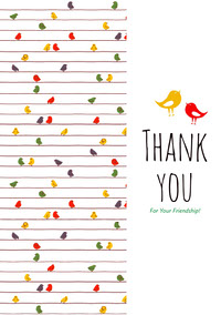 White and Colorful Birds Thank You Card Thank You Messages