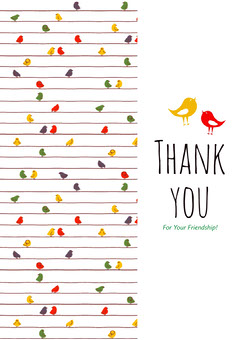 White and Colorful Birds Thank You Card Friends