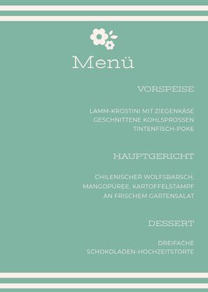 light blue wedding menu Rechnung