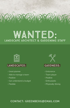Green Landscaper and Gardener Open Position Job Offer Flyer with Grass Job Poster