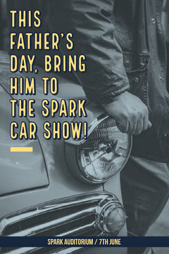 Grey, Yellow, Monochrome Fathers Day Activity Idea, Poster Car