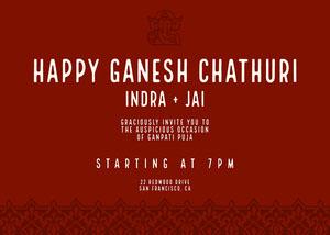 Traditional Red Ganpati Invitation Ganpati Invitation