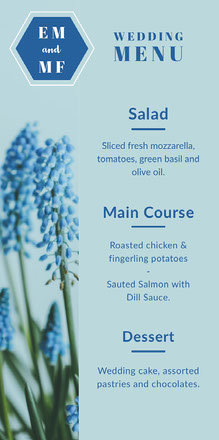 Blue Geometric Floral Wedding Menu 웨딩 메뉴판