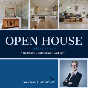 Blue Toned Open House Collage Ad Instagram Story Real Estate