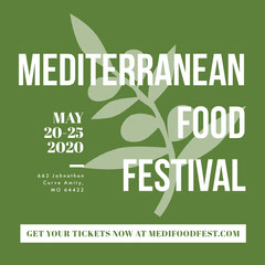 Green and White Food Festival Ad Instagram Square Event Ticket