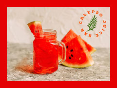 Red Border Watermelon Juice Bar Facebook Shop Graphic with Logo Juice