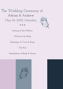 Pink and Grey Wedding Ceremony Program Programa de bodas