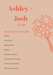 Pink Wedding Ceremony Program Programa de bodas