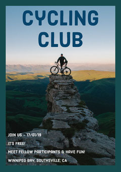 Cycling Club Flyer with Man on Mountain Bike Mountains