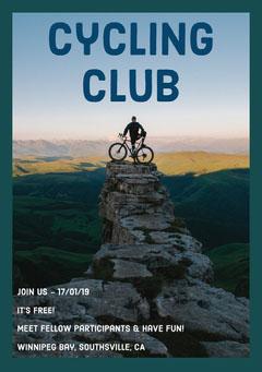 Cycling Club Flyer with Man on Mountain Bike Bike