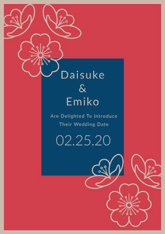 Red and Blue Japanese Style Save the Date Wedding Card with Cherry Blossom Japan
