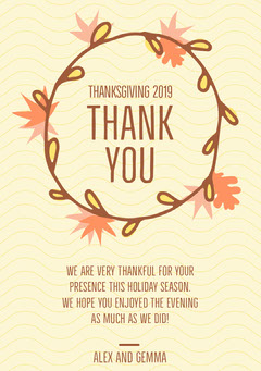 Yellow Autumn Wreath Thanksgiving Dinner Thank You Card Holiday Party Flyer