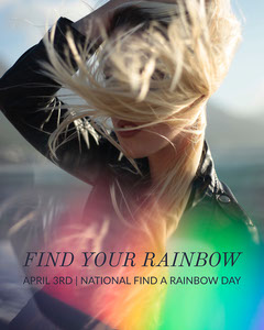 Find a Rainbow Day Instagram Portrait Graphic with Blond Woman Rainbow