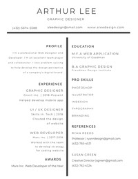 Black and White Graphic Designer Resume CV