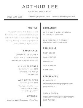 Black and White Graphic Designer Resume CV professionnel
