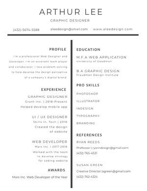 Black and White Graphic Designer Resume Graphic Design Resume