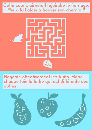 Blue and red Fruits Children Exercises Worksheet Fiche d'exercices