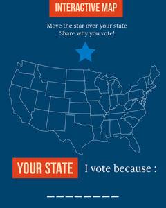 Blue White and Orange Vote Card Election